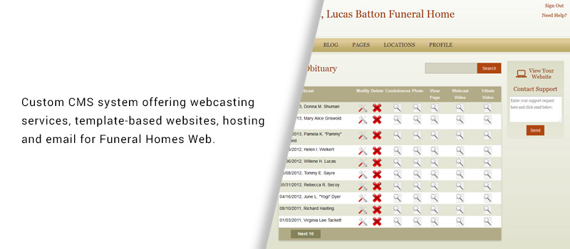 Custom Funeral Homes Web Content Management System